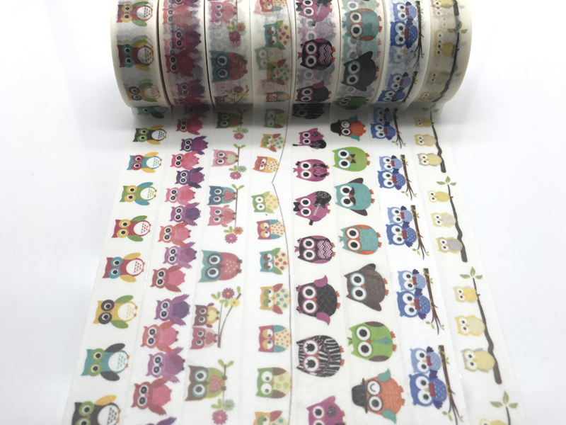 Free shipping  2291 patterns washy paper wide tape masking rice  tape stripe jiataihe washi tape owl night owl  a bird of Minerv
