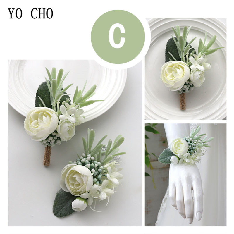YO CHO Wedding Planner Boutonniere White Wrist Corsage Bracelet Bridal Flower Wedding Boutonniere for Guests Mariage Accessories 4
