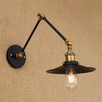 New Vintage Retro Countryside Black Wall Lamp Long Arm Pole Swing Arm Wall Mount Light Sconces