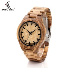 BOBO BIRD G23 Males Watches All Zebra Wooden Watch Relojes Wooden Wristwatches for Males Analog Wooden Strap Gown Watch Relogio Masculino