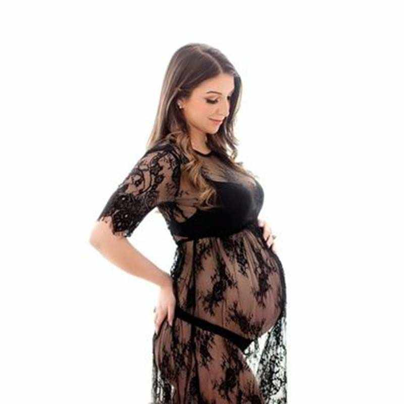 1aa12bab1bc Lace Maternity Dresses for Photo Shoot Beautiful Black S-XXL size Pregnant  Clothes Pregnant Women