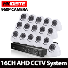 HKISDISTE Home 1080P AHD DVR indoor Outdoor security Surveillance video camera kit 16ch cctv AHD 960P 1.3megapixel Camera system