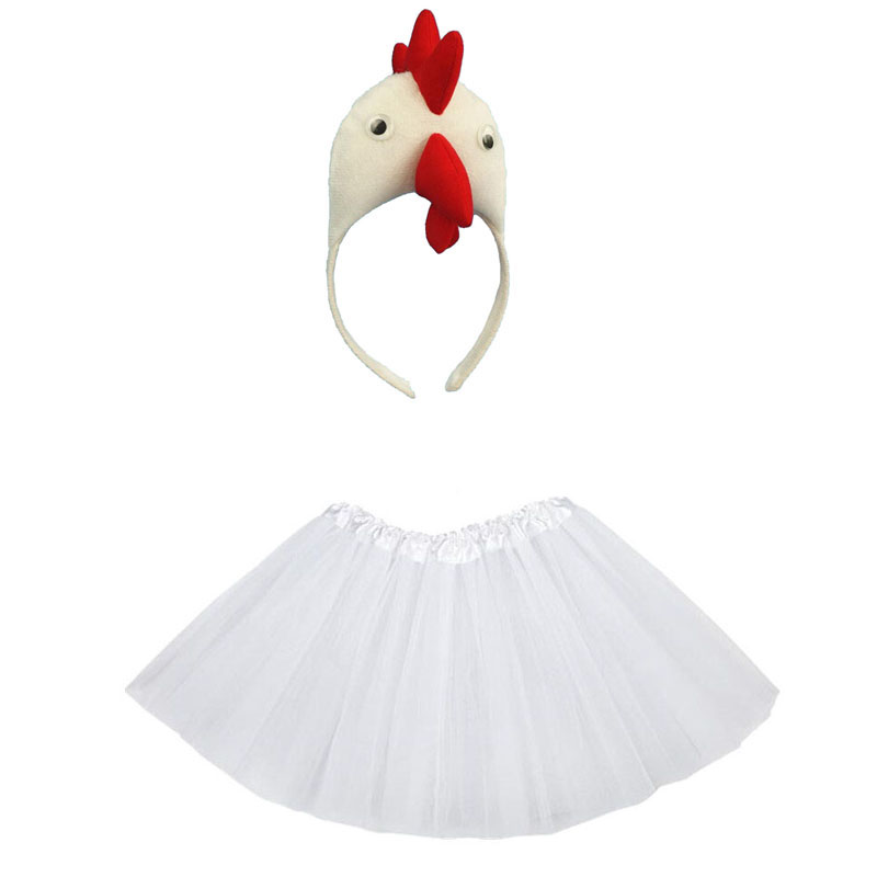 Animal Costume  Chick Cosplay Head Wear Headband With Tutu Skirt  Kids Children Party Props Halloween Costume Carnival