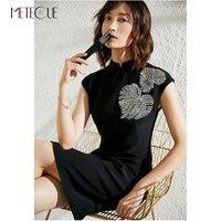 Chinese Style Little Black Dress with Beading 2019 Spring Summer Fashion Acetate Short Sleeve Mandarin Dress 2019 Spring Summer
