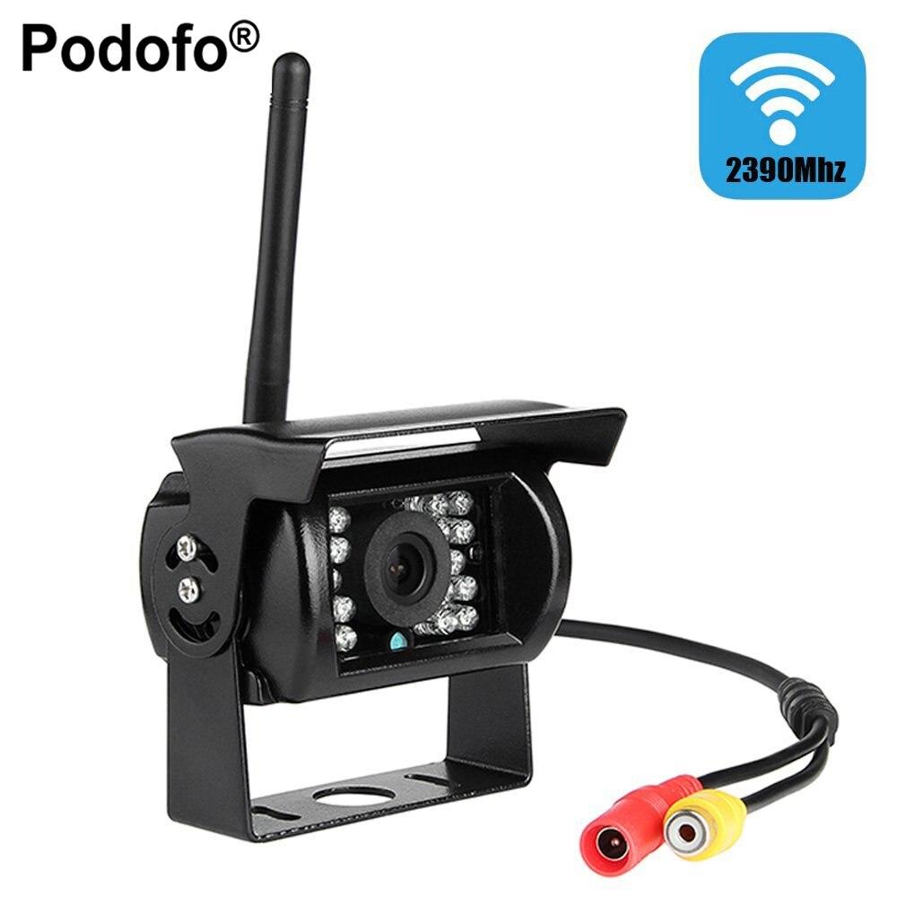Podofo Sans Fil Vue Arrière de Voiture Caméra Étanche 18 LED IR nuit Vision Caméra De Recul pour Véhicule Camion Camping-Car 2390 MHz caméra