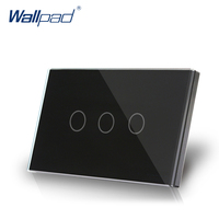 3 Gang 2 Way US AU Standard Wallpad Smart Touch Switch Touch Screen Panel Black Crystal