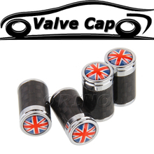 The Union Jack Carbon Fiber Car Wheel Tire Valve Caps Cover For MINI COOPER BMW Ford Chevrolet Volkswagen Audi Opel FIAT Peugeot