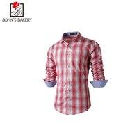 2017 New Fashion Brand Men Shirt Lattice Printing Dress Shirt Long Sleeve Slim Fit Camisa Masculina Casual Male Shirts Model2XL9