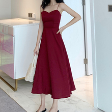 Sexy Backless Long Dress Women Korean Chic Solid Color Gorgeous Spaghetti Strap Dress Summer Red Simple Elegant Vestidos Mujer chic spaghetti strap backless bodycon solid color dress for women