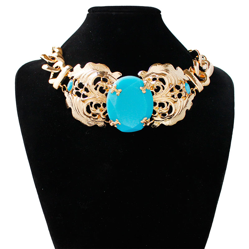 F&U Zinc Alloy Different Kinds of Styles Gold and Silver Color Fashion Unique Design Choker Necklace for Women