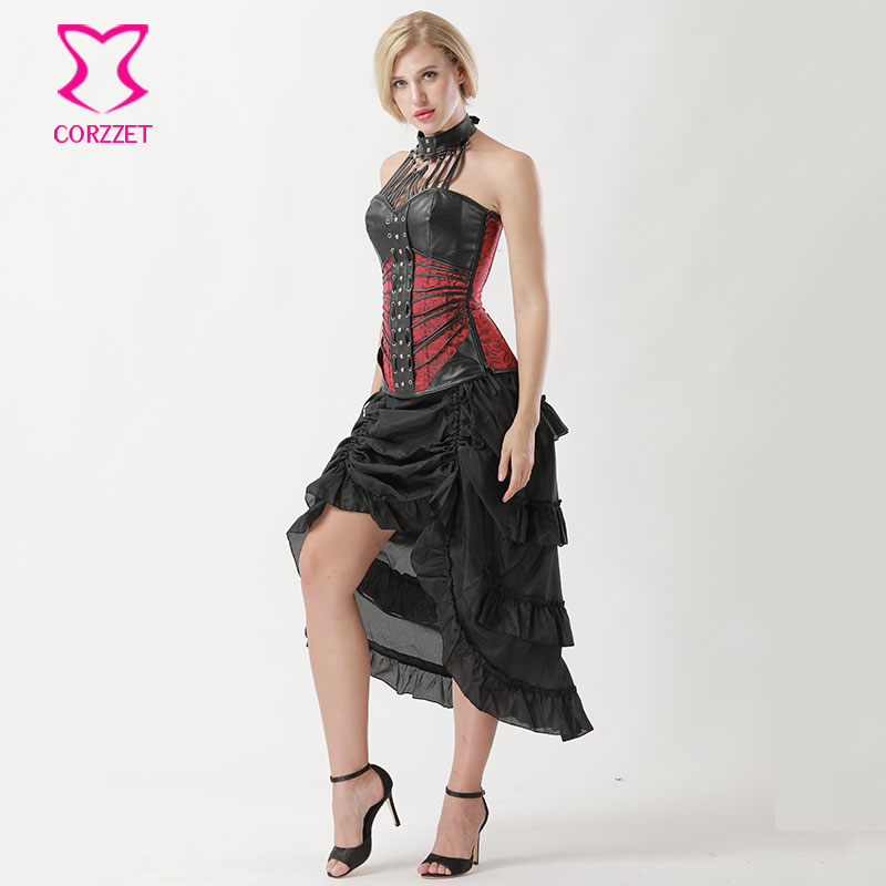 a9c7273b3e Vintage Gothic Black Leather Halter Top Corpetes E Corselet Steel Boned  Overbust Corset Skirt Steampunk Clothing Women Dress-in Bustiers   Corsets  from ...