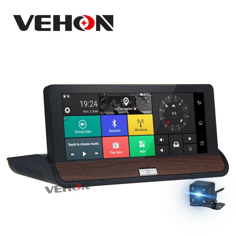 VEHON 6.86 GPS Navigator DVR Dual Lens Bluetooth FM Android 5.0 Wifi 16GB 1G Full HD 1080P with Car Video Recorder Automobile gps навигатор lexand sa5 hd