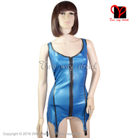 Sexy Metallic gloden Latex garter suspender belts Rubber Gummi coat blouse Body stocking shirt uniform Dress XXXL plus DWD 005