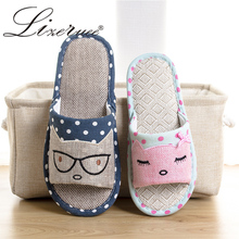 Lizeruee 2019  New Flax Home Slippers Indoor Lovers Shoes Silent Cartoon Cat Slippers Summer Women Sandals Linen Slippers WS133