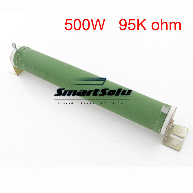 500W Ceramic Tube Resistors 95K ohm Wire Wound Fixed Tube Resistance green fixed type pipe resistance 400w 120 ohm ceramic tube resistor