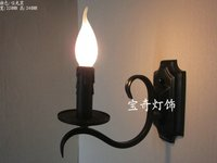 Vintage wall lamps E14 candle bulb lamp Mediterranean black white color simple wrought iron candle lamp