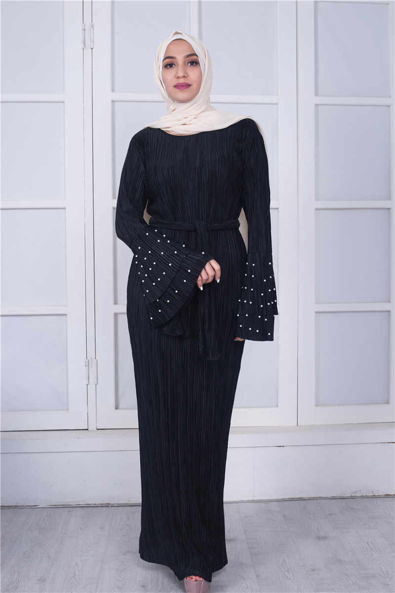 5de36c9934ca ... Muslim Women Pleated Maxi Dress Crinkle Sewed Pearl Stretch Abaya Long  Cocktail Kaftan Gown Arab Women ...