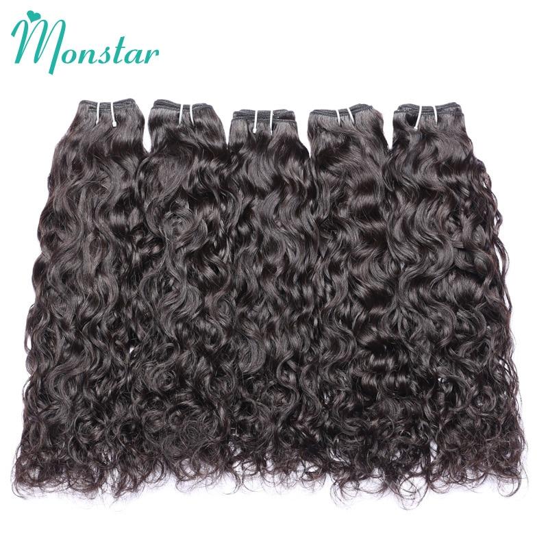 Monstar 5 Bundles Peruvian Wavy Hair Waterwave Bundles Unprocessed Raw Human Virgin Hair ...