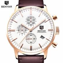 Benyar Lujo Marca Relojes Militar Hombres de Cuarzo Cronógrafo Reloj de Hombre Deportivo de Cuero Del Ejército Reloj de Pulsera Relogios