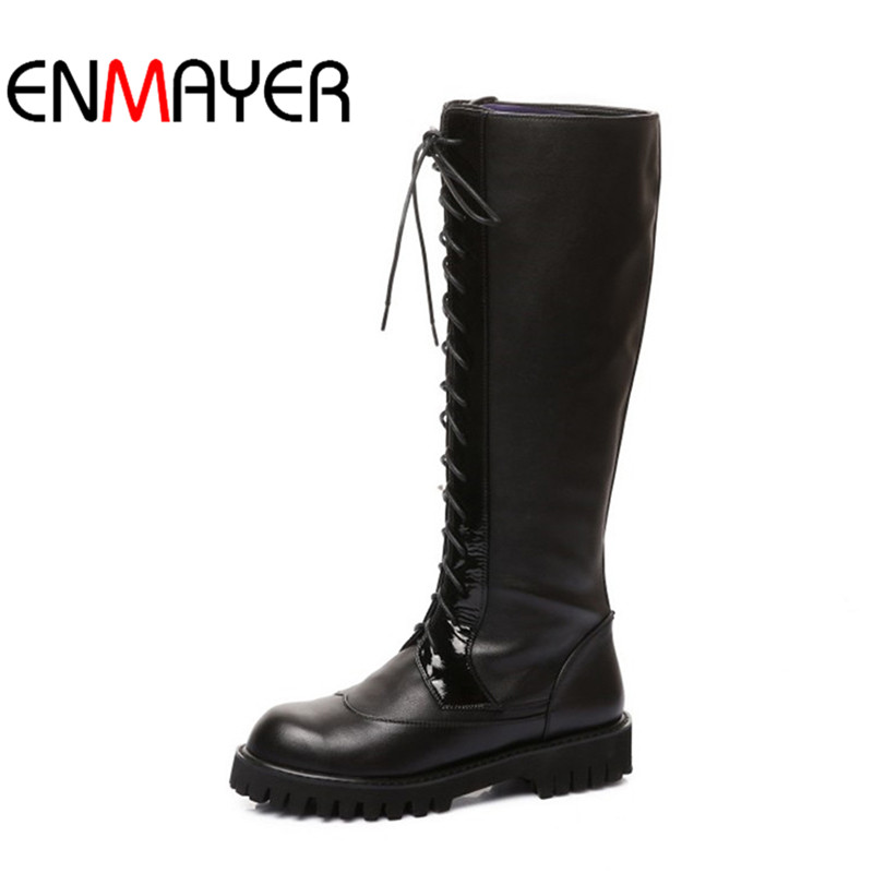 Фотография ENMAYER Fashion Women Boots Lace-up Motorcycle Boots Large Size Winter Boots Leather Shoes Low Heel Roud Toe Black Color Boots