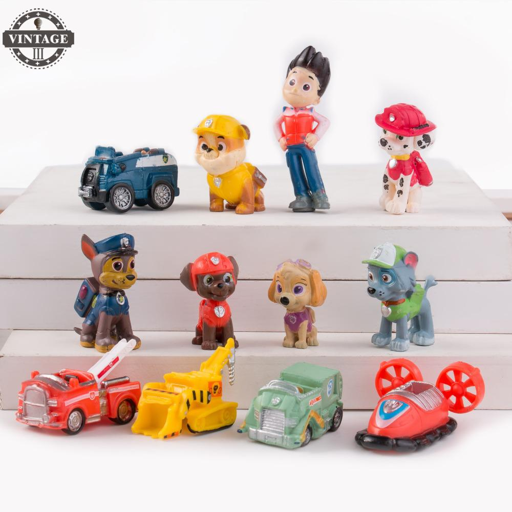 12pcs/set Anime Doll Action Figures Car Puppy Toy Canine Dog Toys saintgi toy bag 12pcs bag random little pet shop lps toys animal cartoon cat dog action figures collection kids toys gift