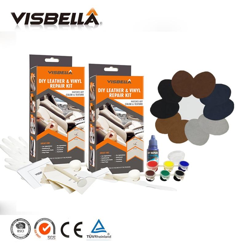VISBELLA 2 pcs Kit de Reparação de Vinil Cola Cole para o Reparo Do Carro Assento de Couro de Inicialização Roupas Rip correção Crack Cortes com 10pcs Patch Selantes