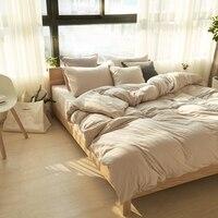 100% de punto de algodón funda nórdica reina king size juego de cama edredón sábanas funda de almohada de color sólido de primavera y verano cubierta