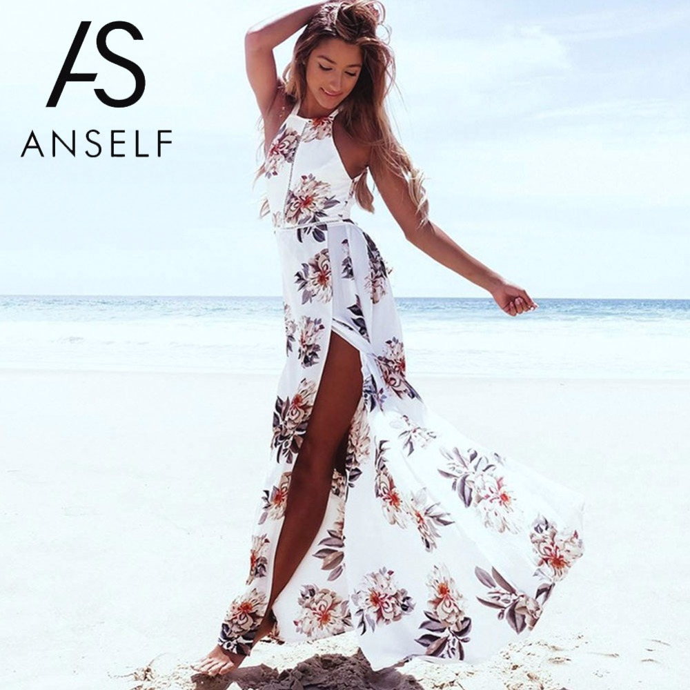 Anself Bohemian Floral Print Summer Maxi Dress Off Shoulder Women Beach Long Dress Backless Sexy Split Party Dresses Vestidos holographic belt purse