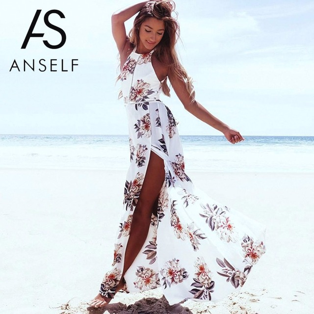 Anself Bohemian Floral Print Summer Maxi Dress Off Shoulder Women Beach  Long Dress Backless Sexy Split 9f037c54a