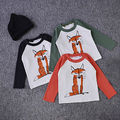 2016 Newest  1-5Y Baby Kids Boys Toddler Long Sleeve Cartoon Fox Printed Casual Cotton Tops T-Shirts Clothes