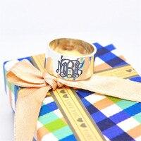 Sólida Prata 8mm de Largura de Banda Anel Do Monograma Gravado 3 Nome Inicial Personalizada Pai Presente Da Jóia Dos Homens