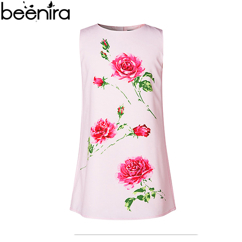 New Summer Girls Dresses Child Princess Rose Prints Pink Color Vestido Wedding Clothing for Party Children Vest High Quality new year flowers flower dresses for wedding party baby girls christmas party princess clothing children summer dresses