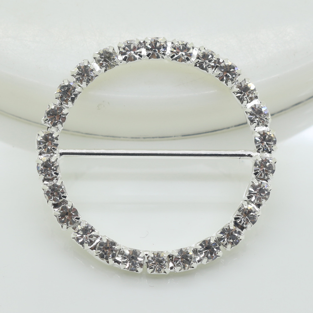 Shiny 10pc Round 37MM Rhinestone Buckle Diamante Ribbon Slider ...