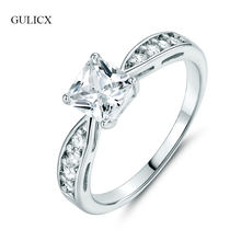 GULICX New Brand Fashion Large Princess Crystal Wedding Rings For Women Silver-color Rings Cubic Zirconia Wedding Jewelry R117(China)