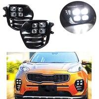 Туман свет лампы дневного света набор для KIA Sportage QL kx5 2016 2017 + Авто белый светодиод DRL света для KIA KX5