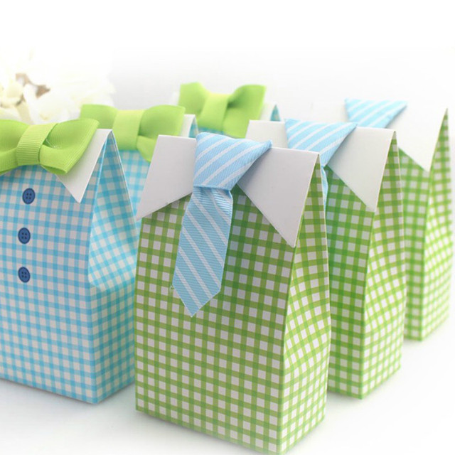 48pcs My Little Man Blue Green Bow Tie Birthday Boy Baby Shower Favor Candy  Treat Bag