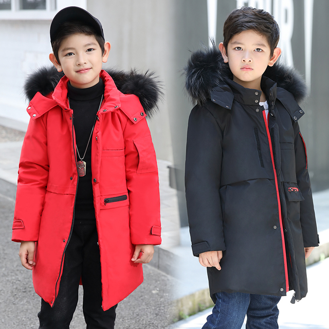f14a6cf58c00 Winter Children duck Down Jackets coats Parkas fur boy Outerwears warm  Girl s thick Down feather jacket -30 degree 130CM-170CM