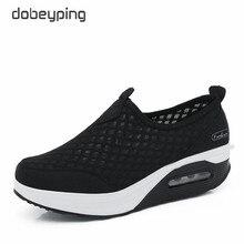 Dobeyping ฤดูใบไม้ผลิผู้หญิงฤดูใบไม้ร่วงฤดูใบไม้ร่วงรองเท้าตาข่ายผู้หญิงรองเท้าแบนสุภาพสตรีรองเท้าผ้าใบสุภาพสตรี WEDGE รองเท้า