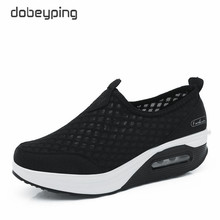dobeyping Spring Autumn Casual Women Shoes Air Mesh Woman Flats Shoe Flat Platform Ladies Sneakers Slip On Ladies Wedge Footwear