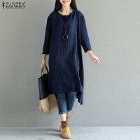 ZANZEA 5XL Vintage Cotton Linen Dress Women 2018 Spring Striped Long Sleeve Asymmetric Loose Mid Calf