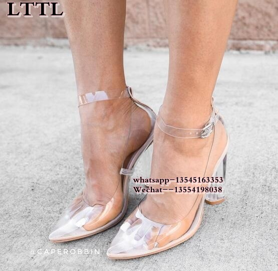 2017 PVC Clear Shoes Pointed Toe High Heels Women Transparent Perspex Pumps Thin Heel Buckle