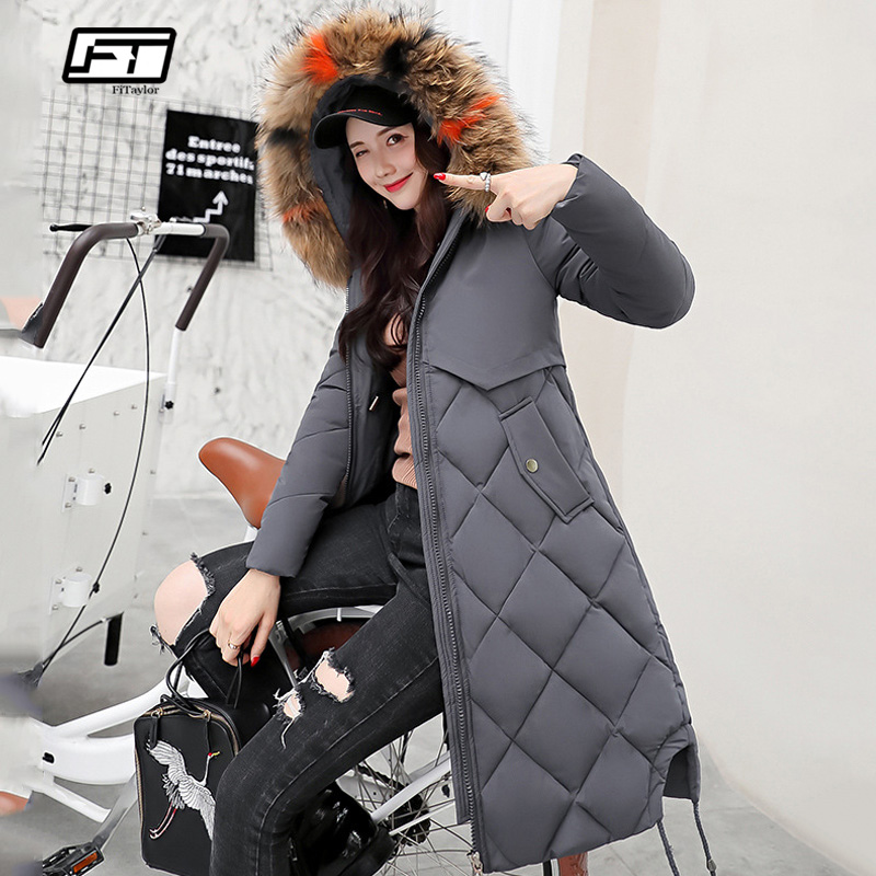Fitaylor New Women Winter Cotton Jacket Coat Warm Large Fur Collar Hooded Long   Parkas   Female Snow Thick Black White Outerwear