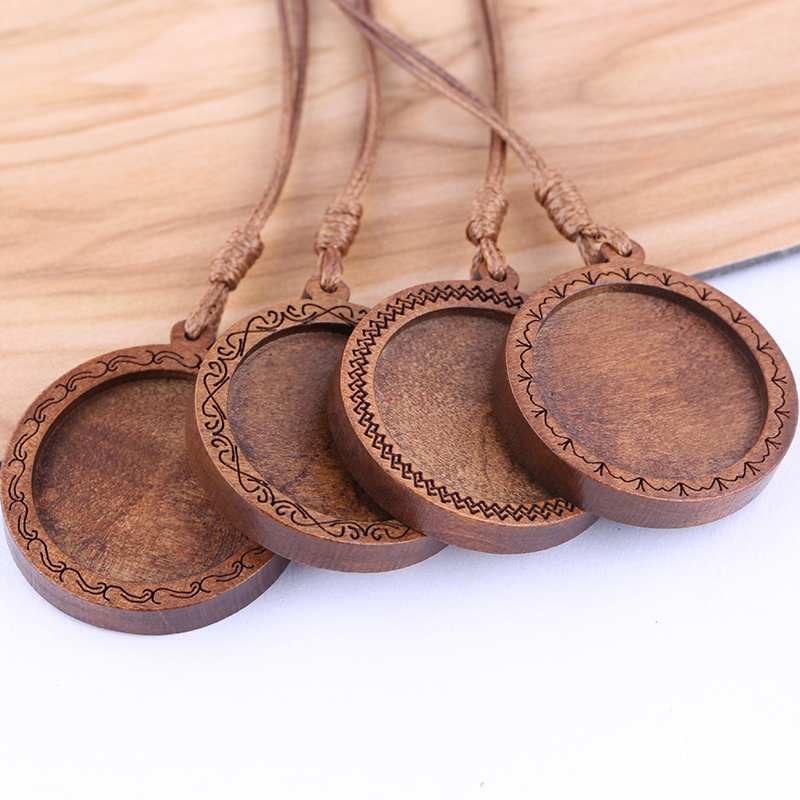 Onwear 5pcs Fit 25mm Round Wood Cabochon Base Settings Dia Blank Wooden Pendant Trays Diy Jewelry Bezels With Leather Cord