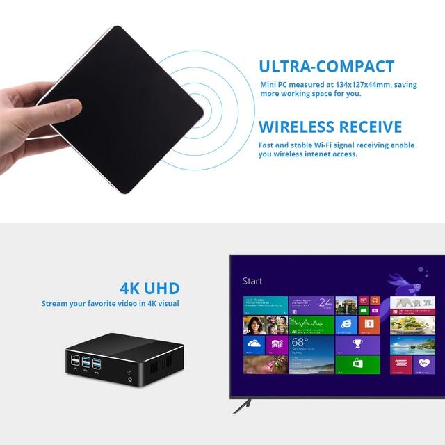 Windows 10 Мини ПК компьютер Intel Core i7 7500U i5 7200U i3 7100U 4 K Поддержка HDMI VGA 300 M WiFi Gigabit Ethernet Minipc NUC 4