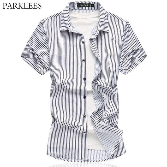 94c21ed52d Classic Vertical Striped Shirt Men 2018 Summer New Short Sleeve Casual Silk  Cotton Dress Shirts for