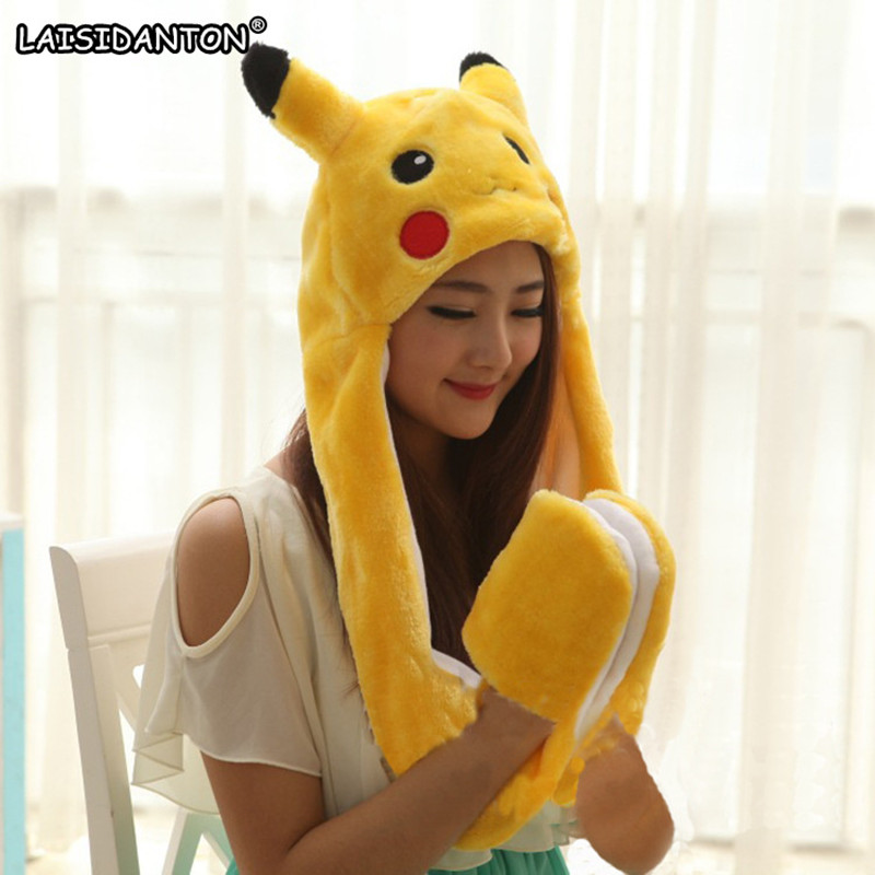 LAISIDANTON Plush Cartoon Animal Cap Pikachu Stitch Totoro Warm Animal Cap Cute Earmuffs With Long Scarf Gloves For Women Men cute bear paw plush gloves winter warm thermal children knitted gloves full finger mittens cartoon gloves