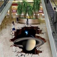 Free Shipping Cartoons Custom 3D Solar System Restaurant Study Waterproof PVC Floor Wallpaper Mural