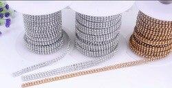 3mm 2 linhas de vidro strass guarnição cristal frisado applique hotfix ferro na malha strass banding no rolo para vestidos de casamento artesanato