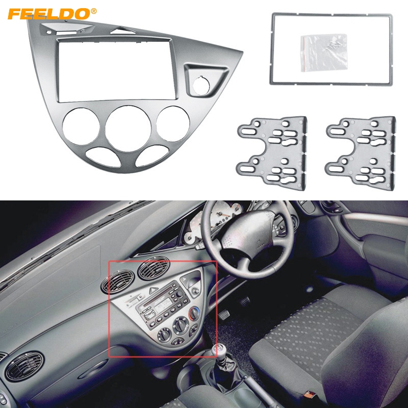 FEELDO Silver Car 2DIN Stereo Panel Fascia Radio Refitting Dash Trim Kit For Ford Focus 98~04(RHD)/Fiesta 95~01(RHD) #AM5038 silver car 2din stereo panel fascia radio refitting dash trim kit for ford focus 98 04 rhd fiesta 95 01 rhd ca5038
