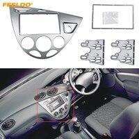 FEELDO Silver Car 2DIN Stereo Panel Fascia Radio Refitting Dash Trim Kit For Ford Focus 98~04(RHD)/Fiesta 95~01(RHD) #AM5038